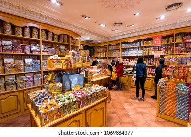 MADRID, SPAIN - 29 MARCH, 2018: Famous French bakery shop La Cure Gourmande in the center of Madrid.