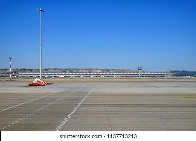 MADRID, SPAIN -3 JUL 2018- View of the Adolfo Suarez Madrid Barajas Airport (MAD), the largest and busiest airport in Spain and a hub for Spanish flag carrier Iberia (IB).