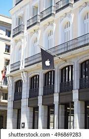 Madrid, Spain - 5th August 2016: Apple store in the Sol square in Madrid, Spain