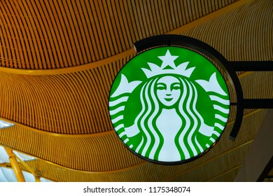 MADRID, SPAIN -9 JUL 2018- View of a Starbucks coffee shop in Madrid Barajas.