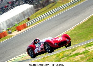 MADRID, SPAIN - APR 1 : Spanish driver Guillermo Fierro races in a Maserati T60 Birdcage during the Jarama Classic, on Apr 1, 2016 in Madrid, Spain.