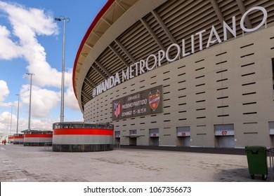 MADRID, SPAIN - APR 12, 2018: Exterior of the Wanda Metropolitano, the home stadium of Atletico Madrid since 2017. Rosas, San Blas-Canillejas district