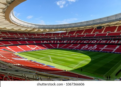 MADRID, SPAIN - APR 12, 2018: Wanda Metropolitano, the home stadium of Atletico Madrid since 2017. Rosas, San Blas-Canillejas district