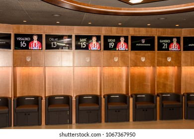 MADRID, SPAIN - APR 12, 2018: Dressing room, Wanda Metropolitano, the home stadium of Atletico Madrid since 2017. Rosas, San Blas-Canillejas district
