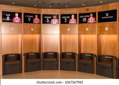 MADRID, SPAIN - APR 12, 2018: Dressing room, Wanda Metropolitano, the home stadium of Atletico Madrid since 2017. Rosas, San Blas-Canillejas district