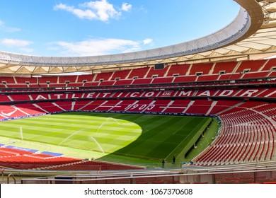MADRID, SPAIN - APR 12, 2018: Wanda Metropolitano, the home stadium of Atletico Madrid since 2017. Rosas, San Blas-Canillejas district