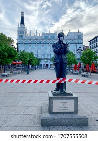 Madrid, Spain - April 01-10: Views of the city in lockdown due to to Coronavirus 2019 (COVID-19) infectious disease caused by severe acute respiratory syndrome coronavirus 2 (SARS-CoV-2) pandemic