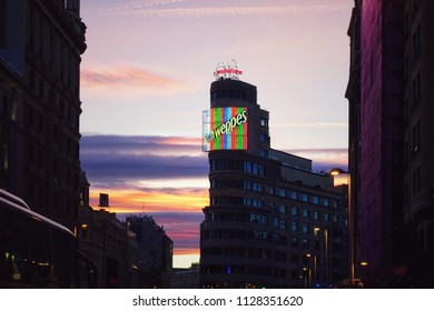 """Madrid, Spain - APRIL 02, 2018: Night view on Gran Via street. Gran Via (literally """"Great Way"""") also called """"The Spanish Broadway""""."""