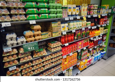 MADRID, SPAIN - APRIL 02, 2018: product range on the shelves in the popular supermarket.