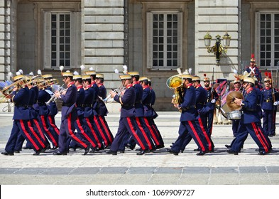 MADRID, SPAIN - APRIL 04, 2018: The ceremony of the Solemn Changing of the Guard at the Royal Palace of Madrid.That is famous event performedon the first Wednesday of each month.