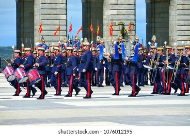MADRID, SPAIN - APRIL 04, 2018: The ceremony of the Solemn Changing of the Guard at the Royal Palace of Madrid. That is famous event performed on the first Wednesday of each month.