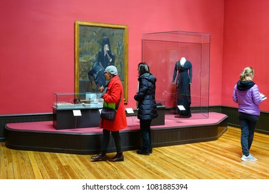 """MADRID, SPAIN - APRIL 04, 2018: Visitors in the the Museum Sorolla. It features work by the spanish artist Joaquín Sorolla at the exhibition """"Sorolla and Fashion""""."""
