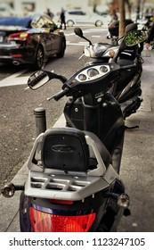 MADRID, SPAIN - APRIL 04, 2018: modern motorcycle parked on Madrid street