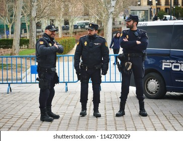 MADRID, SPAIN - APRIL 04, 2018: Group of the National Police Corps (CNP) at the ceremony of the Solemn Changing of the Guard at the Royal Palace of Madrid.