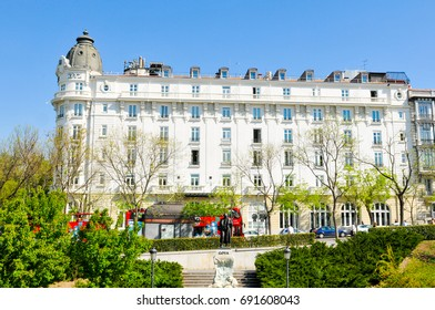 Madrid, Spain - April 10, 2016: Panorama of the famous Ritz hotel in central Madrid, Spain
