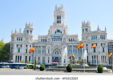 Madrid, Spain - April 10, 2016: Architectural panorama of Plaza de Cibeles and City Hall in central Madrid, Spain