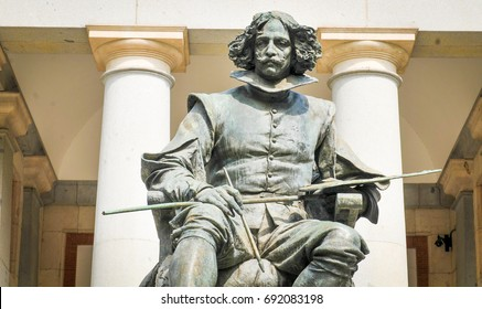 Madrid, Spain - April 11, 2017: Architectural detail depicting the statue of Velazquez in front of Prado Museum, major tourist landmark in Madrid, Spain
