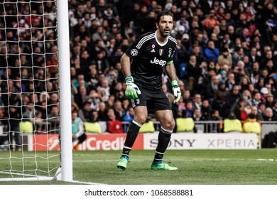 Madrid, Spain. April 11, 2018. UEFA Champions League. Real Madrid - Juventus 1-3. Gianluigi Buffon, goalkeeper Juventus.