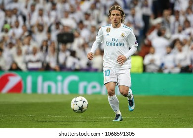 Madrid, Spain. April 11, 2018. UEFA Champions League. Real Madrid - Juventus 1-3. Luka Modric, Real Madrid.