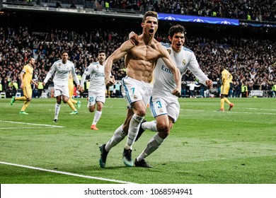Madrid, Spain. April 11, 2018. UEFA Champions League. Real Madrid - Juventus 1-3. Cristiano Ronaldo, Real Madrid, celebrating the goal.