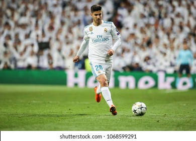 Madrid, Spain. April 11, 2018. UEFA Champions League. Real Madrid - Juventus 1-3. Marco Asensio, Real Madrid.
