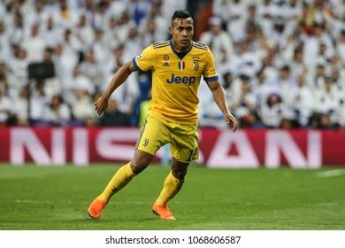 Madrid, Spain. April 11, 2018. UEFA Champions League. Real Madrid - Juventus 1-3. Alex Sandro, Juventus.