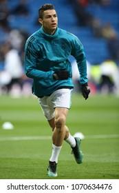 Madrid, Spain. April 11, 2018. UEFA Champions League. Real Madrid - Juventus 1-3. Cristiano Ronaldo, Real Madrid, during warm-up.