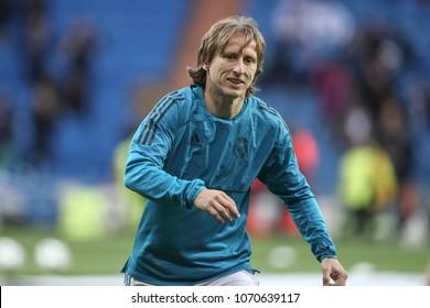 Madrid, Spain. April 11, 2018. UEFA Champions League. Real Madrid - Juventus 1-3. Luka Modric, during warm-up.