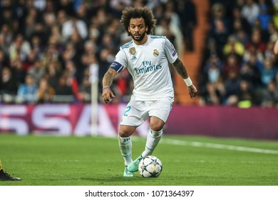 Madrid, Spain. April 11, 2018. UEFA Champions League. Real Madrid - Juventus 1-3. Marcelo, Real Madrid.
