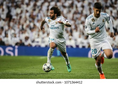 Madrid, Spain. April 11, 2018. UEFA Champions League. Real Madrid - Juventus 1-3. Marcelo, Real Madrid.