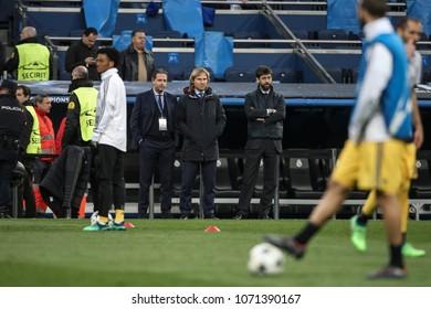 Madrid, Spain. April 11, 2018. UEFA Champions League. Real Madrid - Juventus 1-3. Fabio Paratici, Pavel Nedved and Andrea Agnelli, management Juventus.