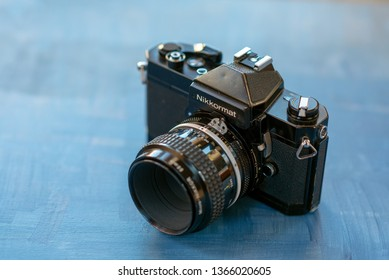 MADRID, SPAIN - APRIL 11, 2019: Nikkormat was a brand of cameras produced by company Nippon Kogaku K. K., as a consumer version of the professional Nikon brand. produced from 1965 until 1978