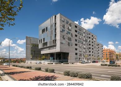 MADRID, SPAIN - APRIL 11: modern residential building in Vallecas district, Madrid, Spain on April 11, 2015.