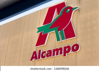 MADRID, SPAIN - APRIL 12, 2019. Alcampo logo on Alcampo building. Alcampo is the name of the 2nd biggest hypermarket chain in Spain and part of Auchan group