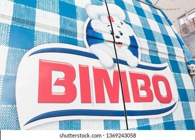 MADRID, SPAIN - APRIL 14, 2019. Bimbo logo on Bimbo van. Bimbo is a Mexican multinational bakery product manufacturing company