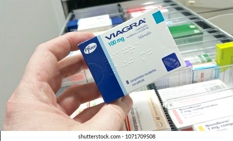 MADRID, SPAIN - APRIL 18: View of a box of Viagra on the shelf of a pharmacy on April 18, 2018 in Madrid, Spain.