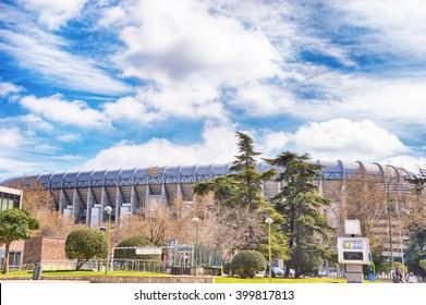 MADRID, SPAIN - APRIL 2: View Santiago Bernabéu football stadium of Real Madrid on April 2, 2016 in Madrid, Spain.