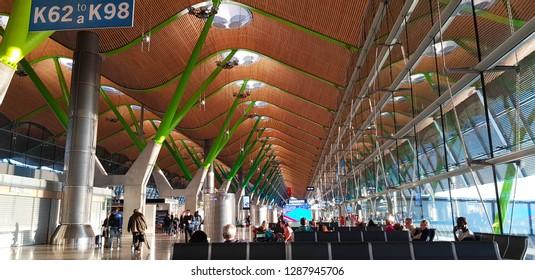 Madrid, Spain - April, 2018. Madrid Airport Barajas Airport terminal 4, Madrid, Spain