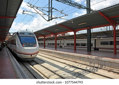 Madrid, Spain - April 23, 2011: Trains in Chamartin Railway Station, Madrid, Spain. Chamartin is the station that connects Madrid by train with northern Spain