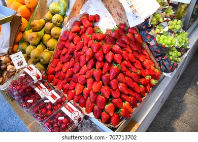 Madrid, Spain - April 23, 2016 - Several products, mostly fruits and vegetables, on display for sale in Mercado de San Miguel.
