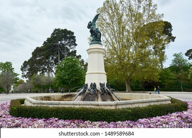 MADRID, SPAIN - APRIL 23, 2018: The Fountain of the Fallen Angel (Fuente del Ángel Caído) or Monument of the Fallen Angel in the Buen Retiro Park.