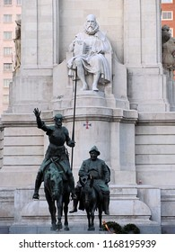 Madrid, Spain - April 24, 2012: Miguel Cervantes monument - Don Quijote and Sancho Panza