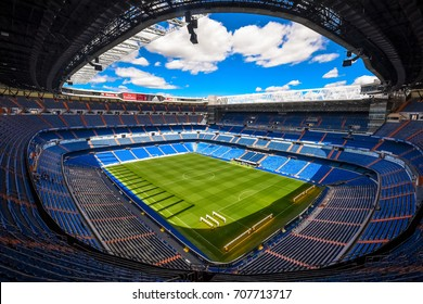 Madrid, Spain - April 24, 2016 - Panoramic view of Santiago Bernabeu Stadium pitch and stands during Tour del Bernabeu.