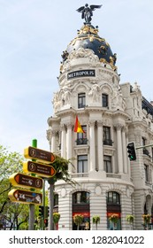 Madrid, Spain - April 25, 2008: Metropolis Building or Edificio Metropolis is an office building at the intersection of the Calle de Alcala and Gran Via streets in Madrid, Spain