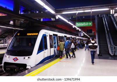 MADRID, SPAIN - APRIL 26: Interior of metro station Aeropuerto in April 26, 2013 in Madrid, Spain.  Metro began work October 17, 1919. Number of stations - 326