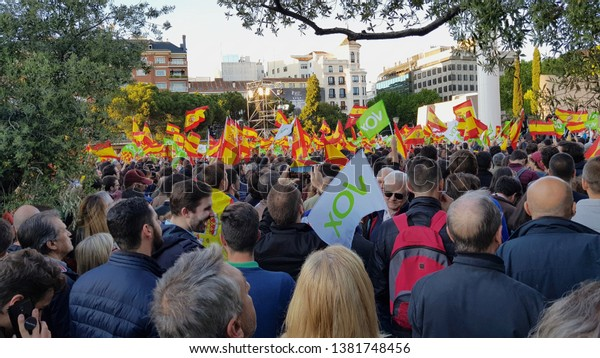 MADRID, SPAIN - APRIL 26: Meeting of the political party Vox in the Colon square on April 26, 2019 in Madrid, Spain.