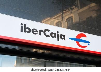 MADRID, SPAIN - APRIL 27, 2019. Ibercaja logo on Ibercaja bank office. Ibercaja is a Spanish bank based in Zaragoza
