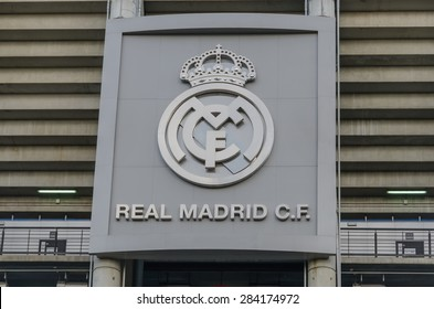MADRID, SPAIN - APRIL 29: Real Madrid logotype in the facade of the Santiago Bernabeu Stadium on April 29, 2015 in Madrid, Spain.