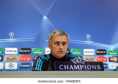 MADRID, SPAIN - APRIL 3: Jose Mourinho press conference, pregame Champions League, Apoel return leg on April 3, 2012 in Valdebebas.