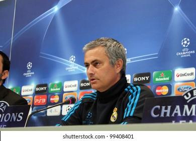 MADRID, SPAIN  APRIL 3: Jose Mourinho press conference, pregame Champions League, Apoel return leg. On April 3, 2012 in Valdebebas.